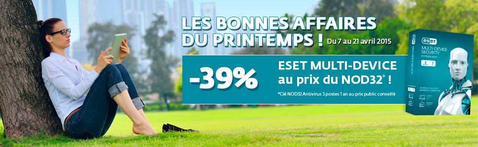 Les bonnes affaires du printemps du 7 au 21 avril 2015 - 40% ESET Multi-Device au prix du NOD32