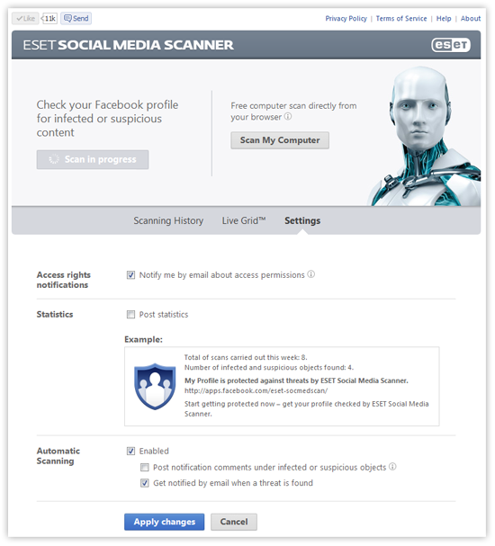 ESET Social Media Scanner - Settings screenshot